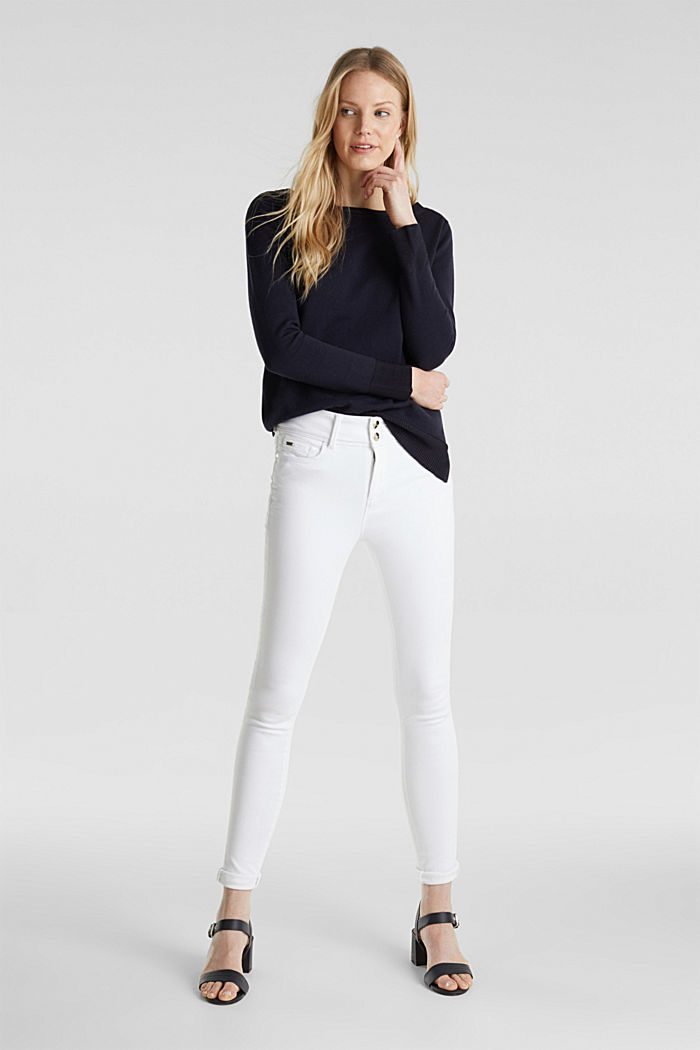 With silk: jumper with shiny details, NAVY, detail image number 1
