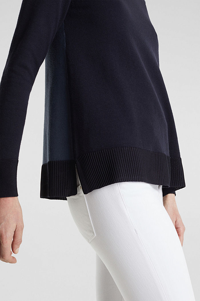 With silk: jumper with shiny details, NAVY, detail image number 4