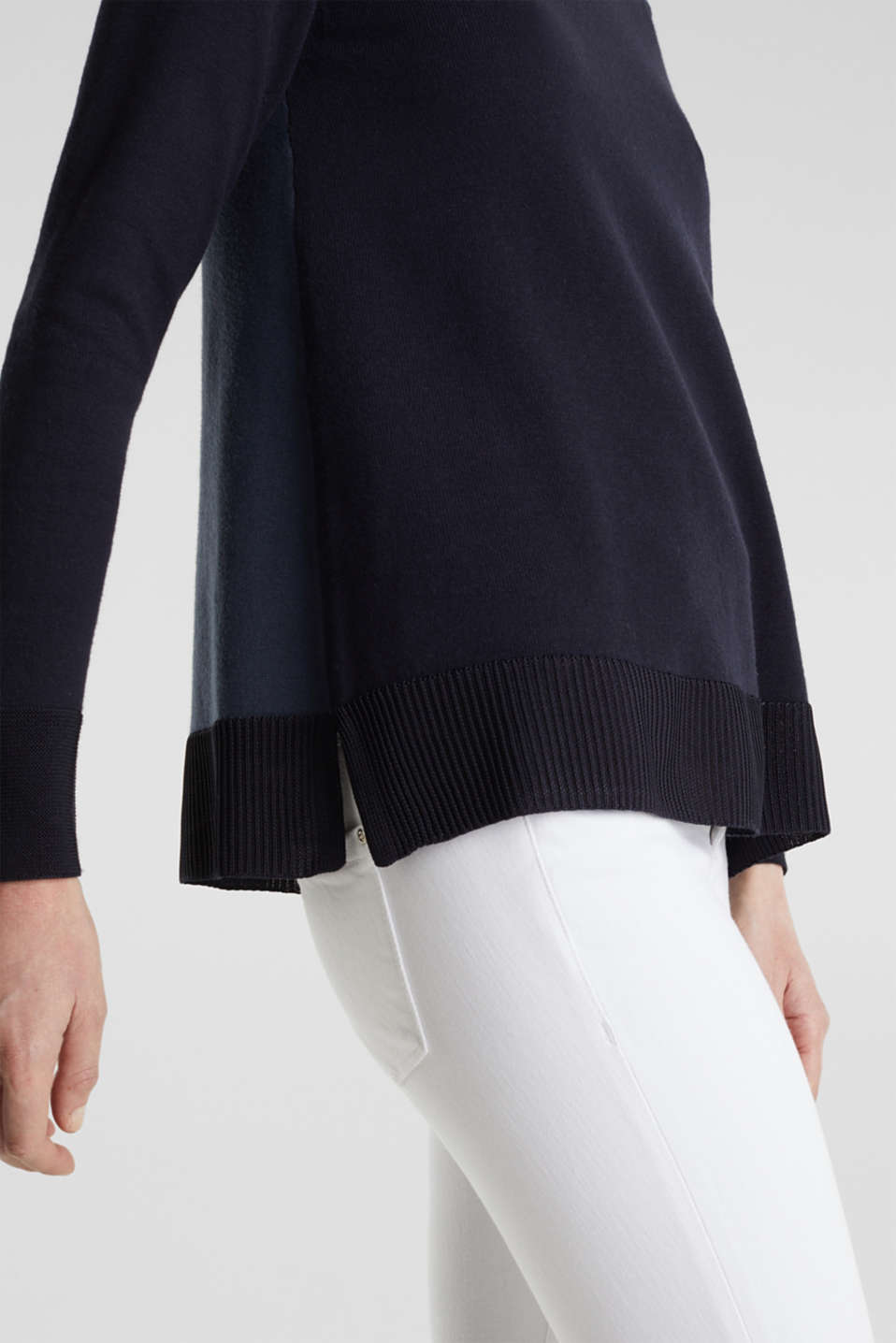 With silk: jumper with shiny details, NAVY 3, detail image number 4
