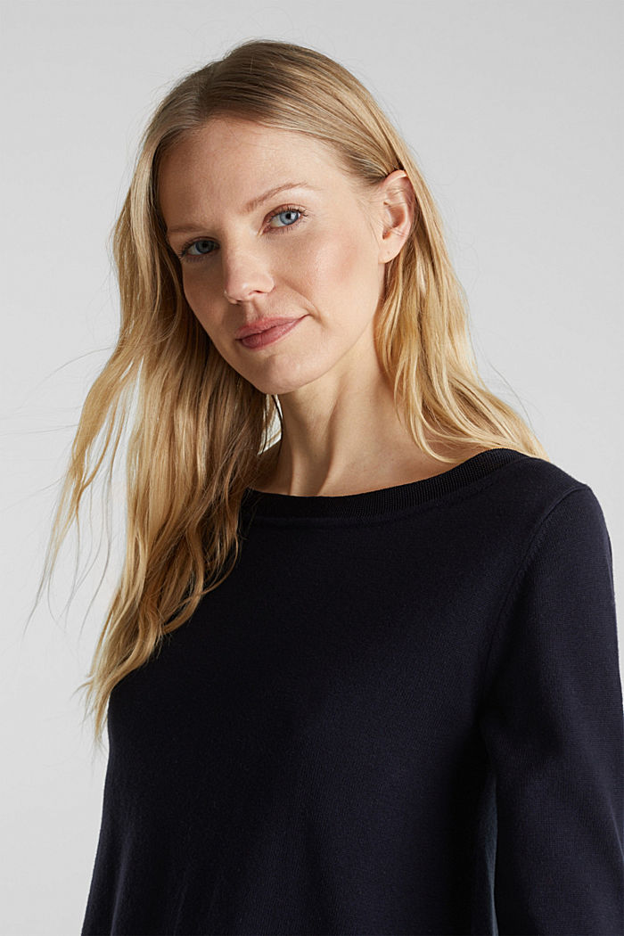 With silk: jumper with shiny details, NAVY, detail image number 5