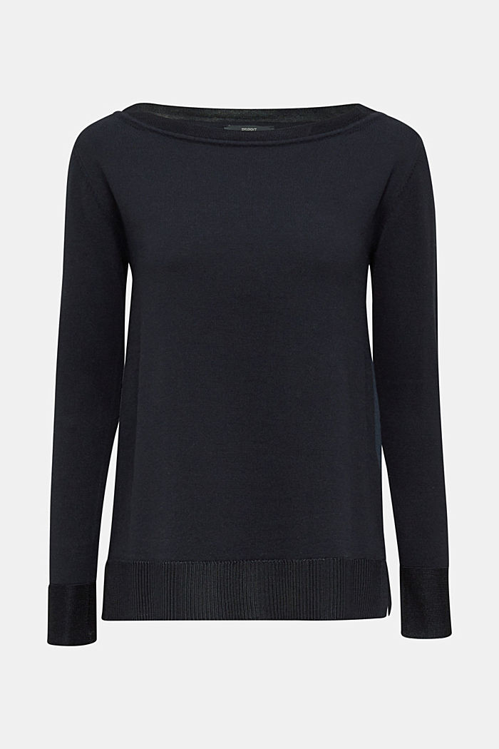 With silk: jumper with shiny details, NAVY, detail image number 6