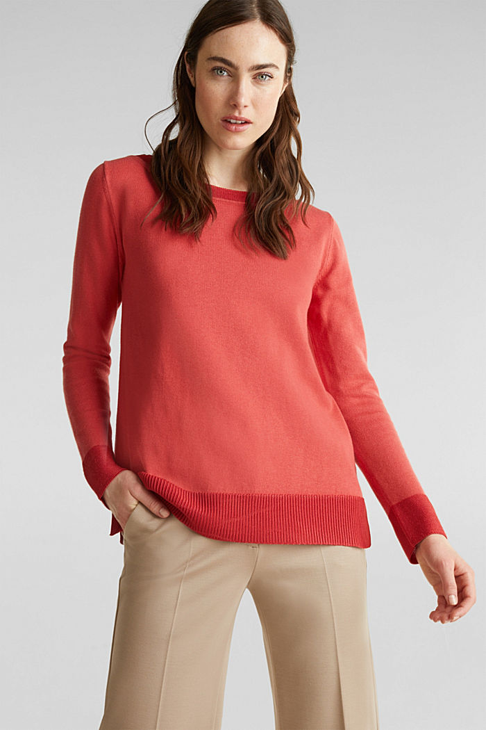 With silk: jumper with shiny details, TERRACOTTA, detail image number 0