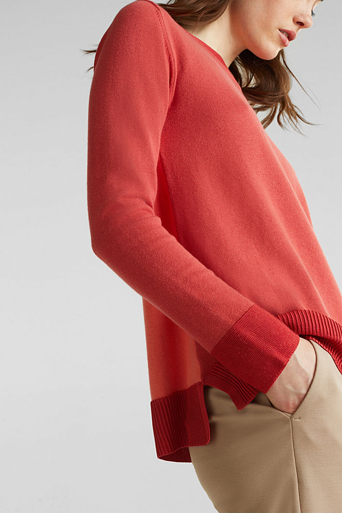 With silk: jumper with shiny details, TERRACOTTA, detail image number 5