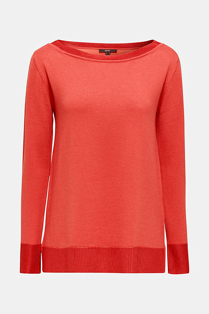 With silk: jumper with shiny details, TERRACOTTA, detail image number 7