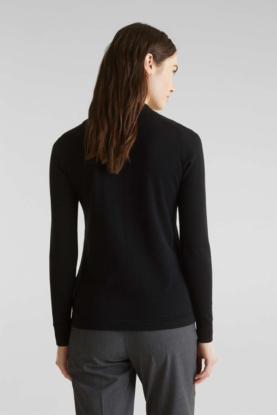 With silk: Jumper with a polo collar, BLACK, detail image number 3