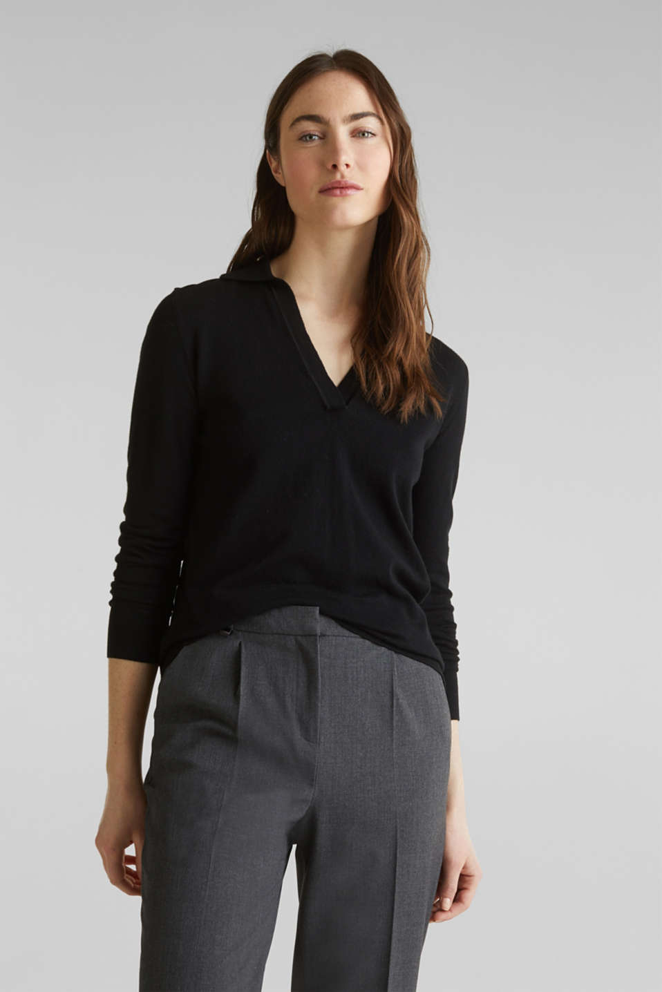 With silk: Jumper with a polo collar, BLACK, detail image number 5