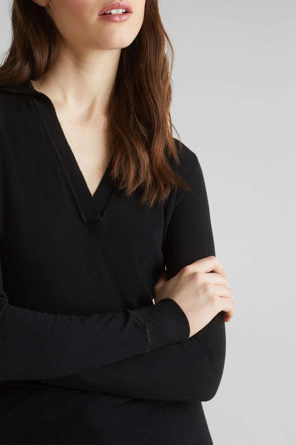With silk: Jumper with a polo collar, BLACK, detail image number 2