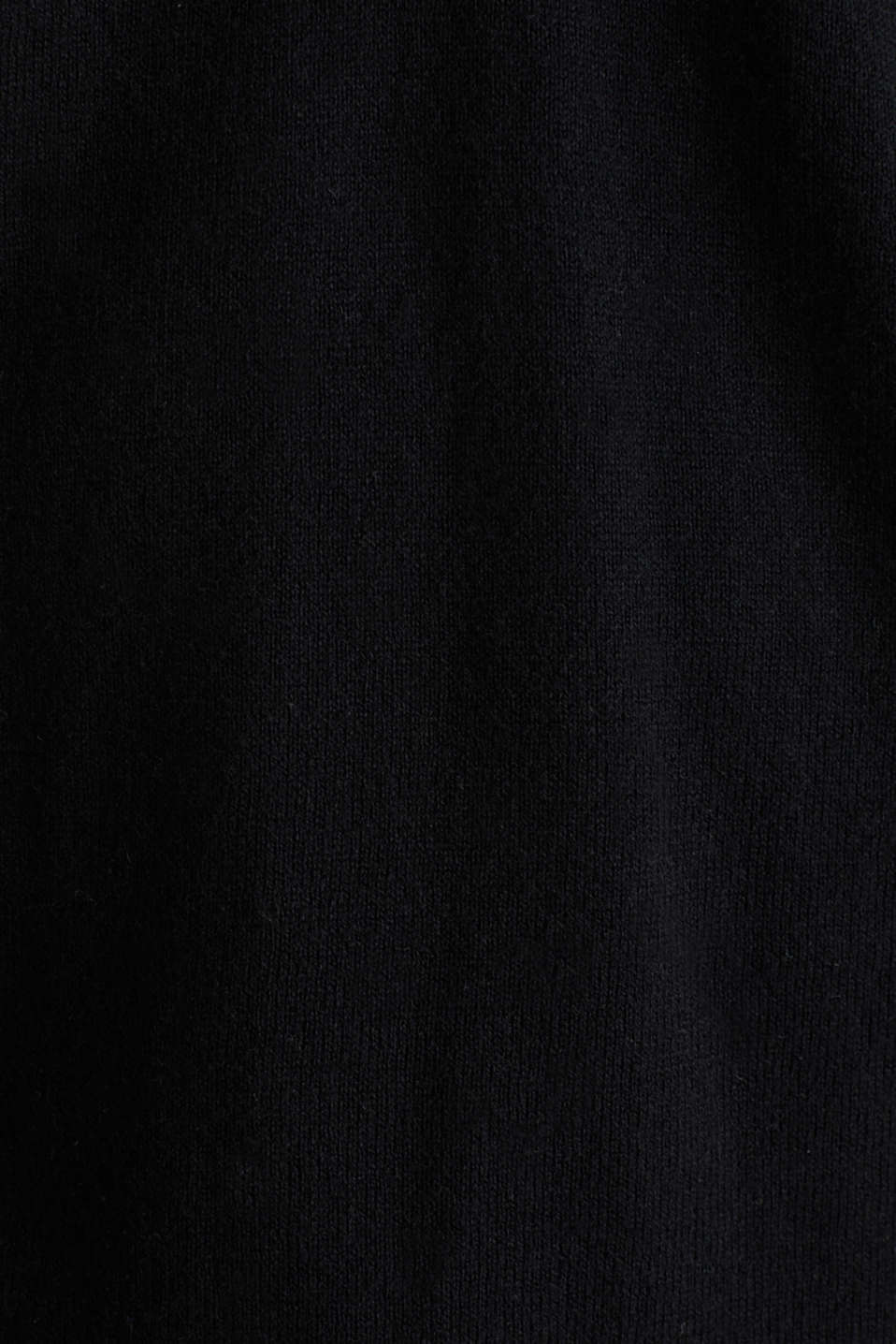 With silk: Jumper with a polo collar, BLACK, detail image number 4