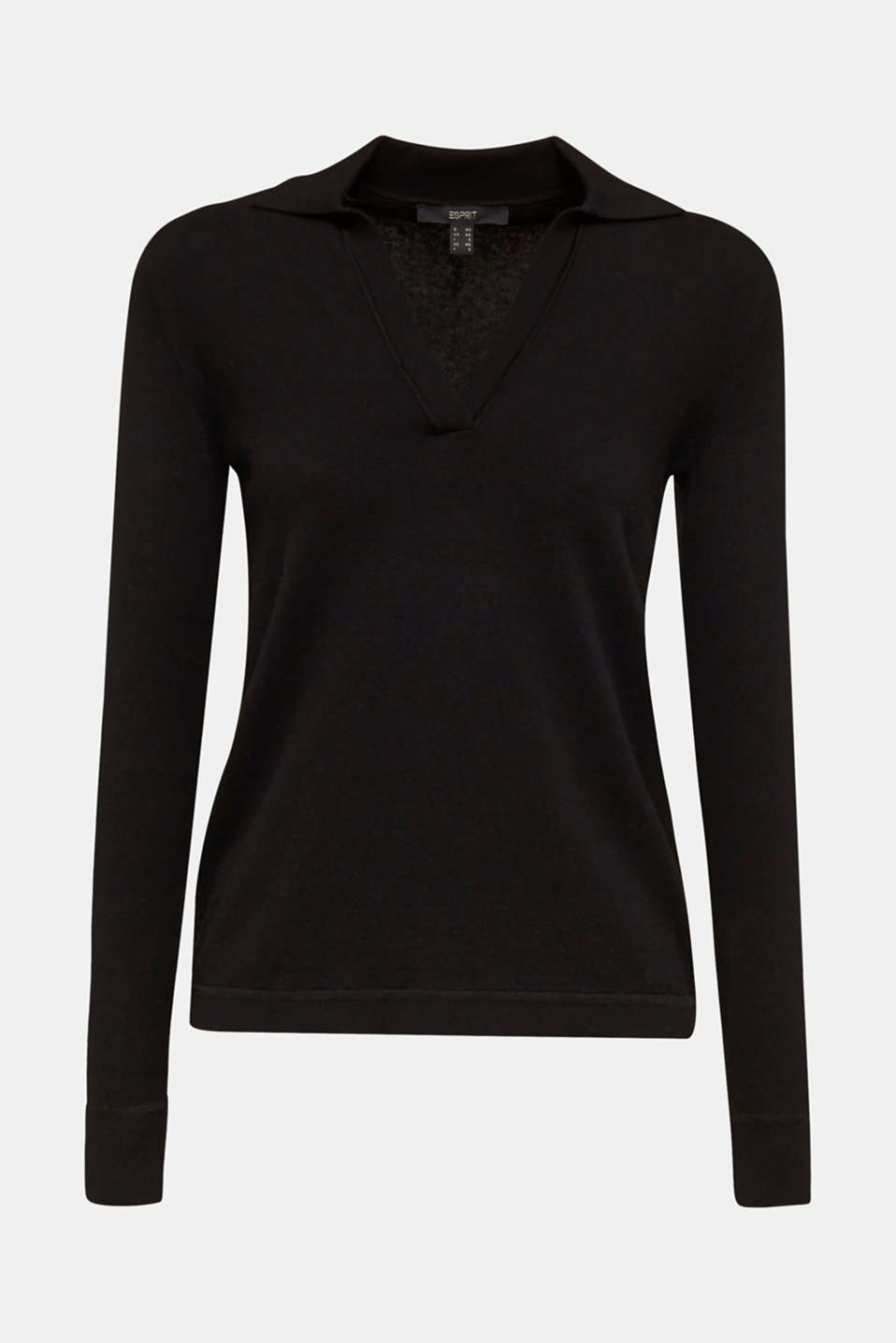 With silk: Jumper with a polo collar, BLACK, detail image number 7