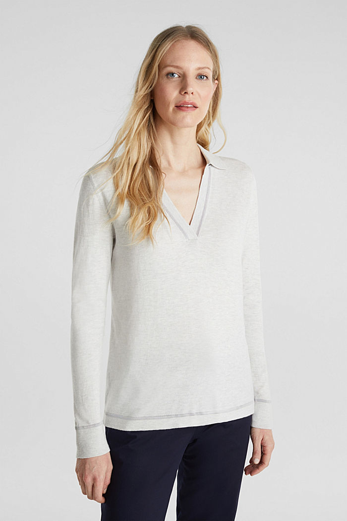 Mit Seide: Pullover mit Polo-Kragen, LIGHT GREY, overview