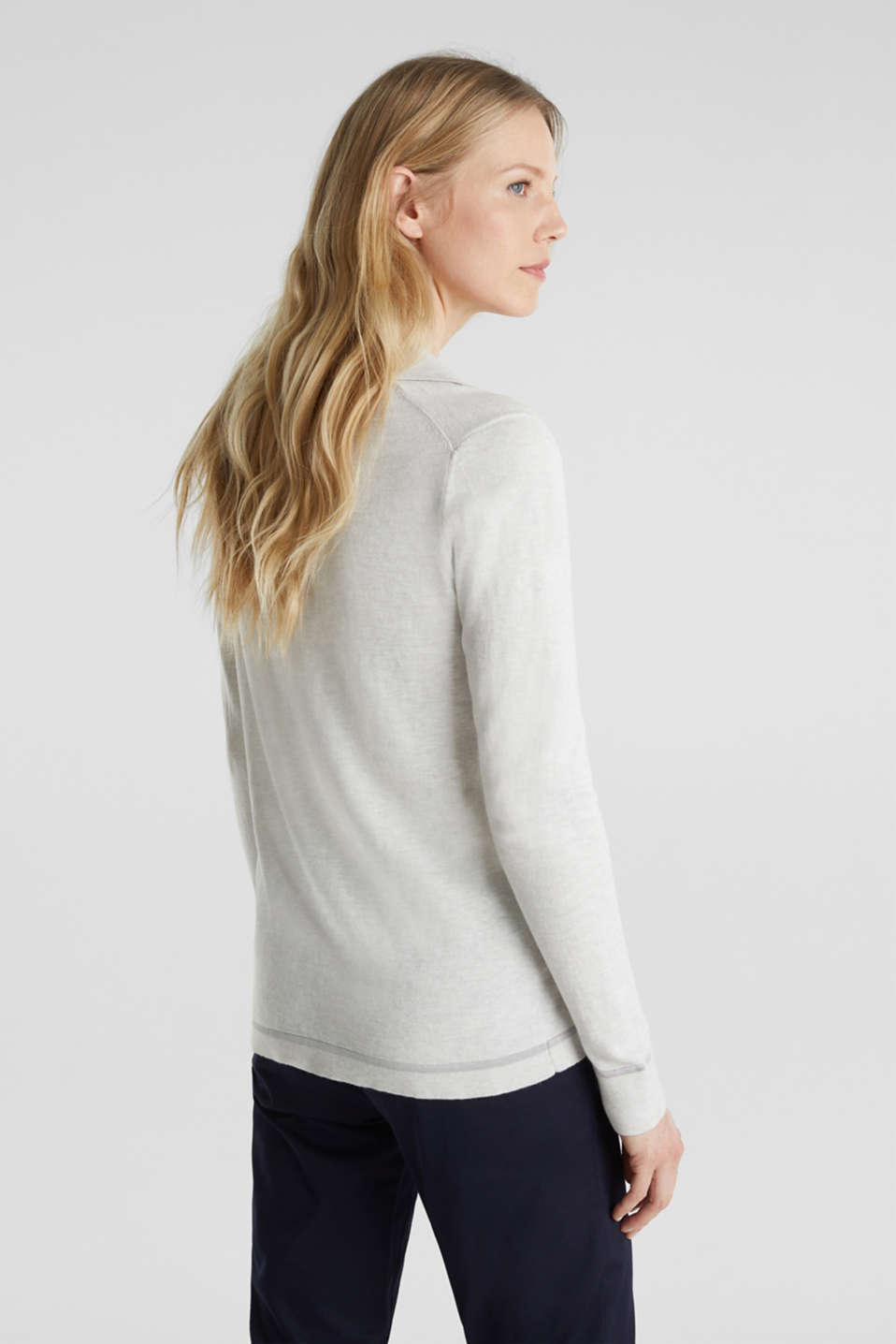 With silk: Jumper with a polo collar, LIGHT GREY 5, detail image number 3