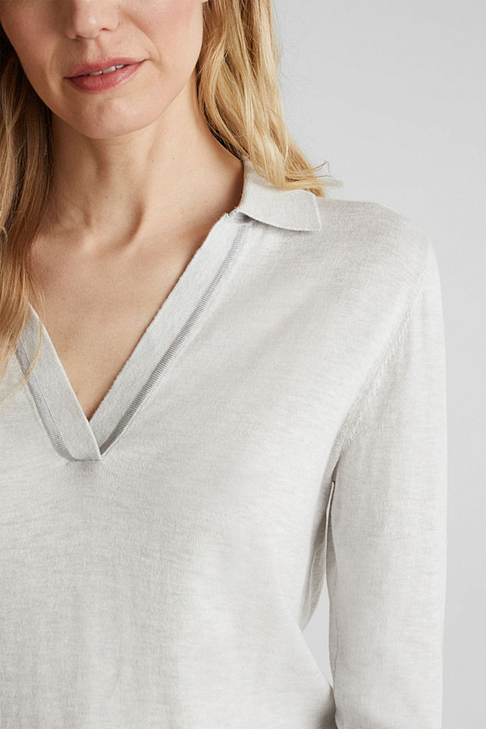 With silk: Jumper with a polo collar, LIGHT GREY, detail image number 2