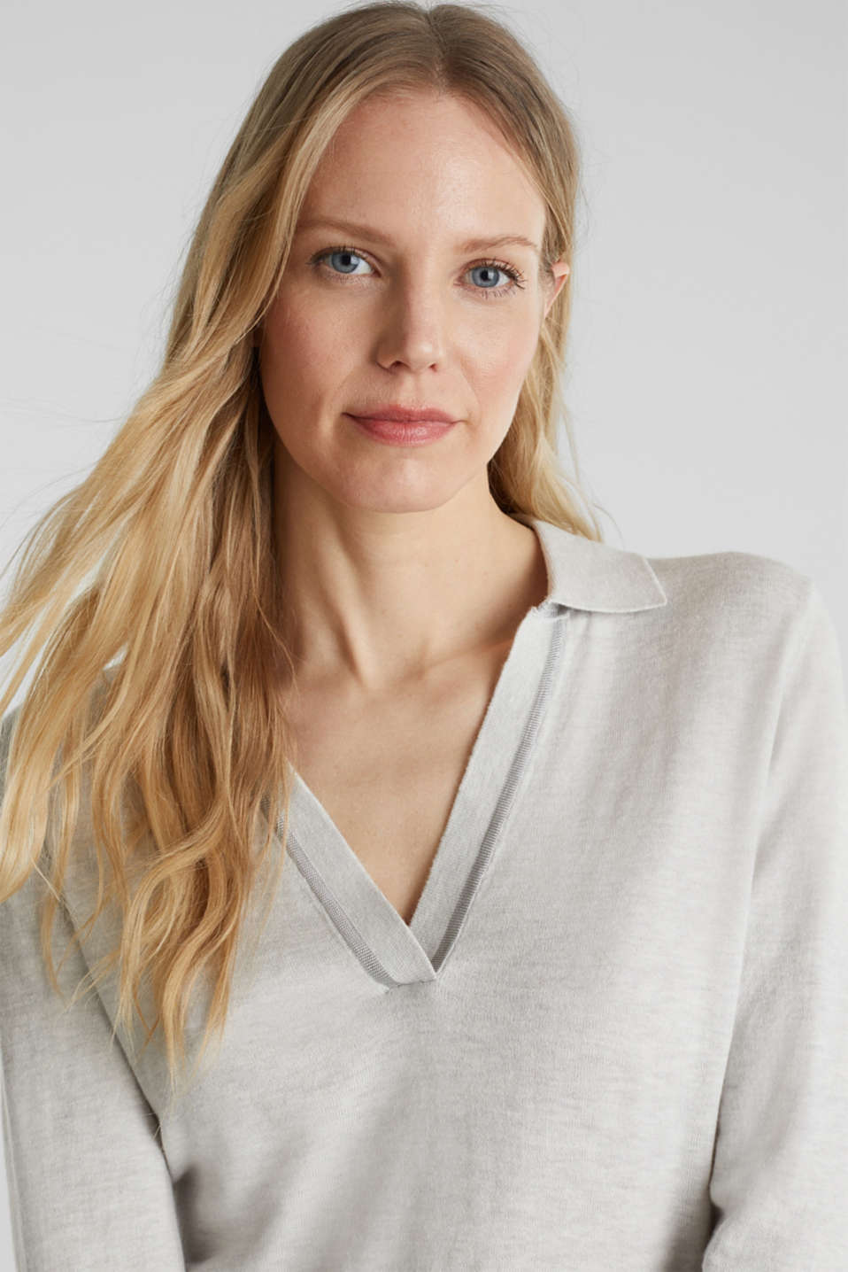 With silk: Jumper with a polo collar, LIGHT GREY 5, detail image number 5