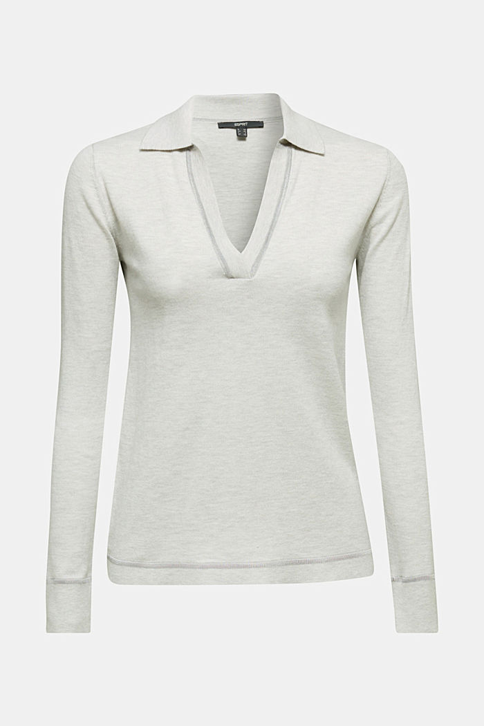 With silk: Jumper with a polo collar, LIGHT GREY, detail image number 6
