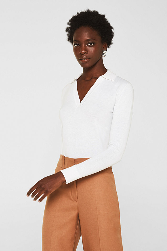 With silk: Jumper with a polo collar, OFF WHITE, detail image number 0