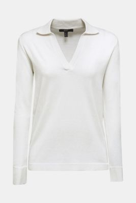 With silk: Jumper with a polo collar, OFF WHITE, detail