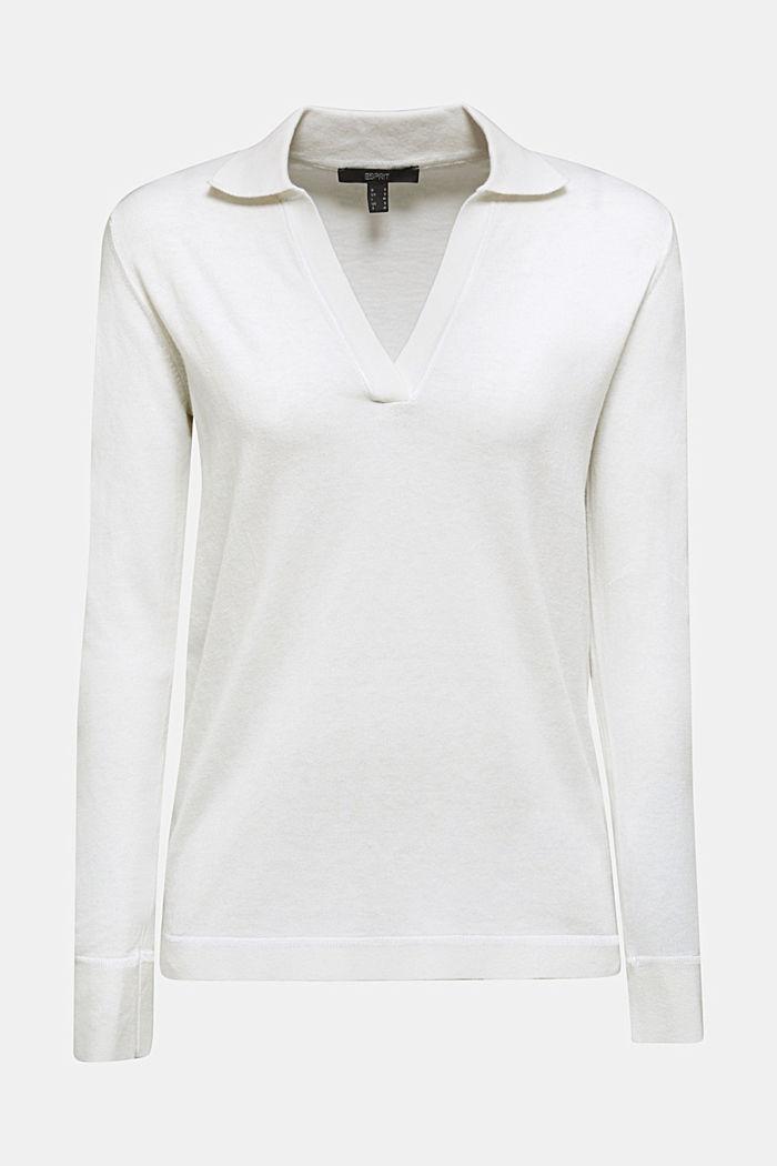 Con seda: jersey con cuello de estilo polo, OFF WHITE, detail image number 0