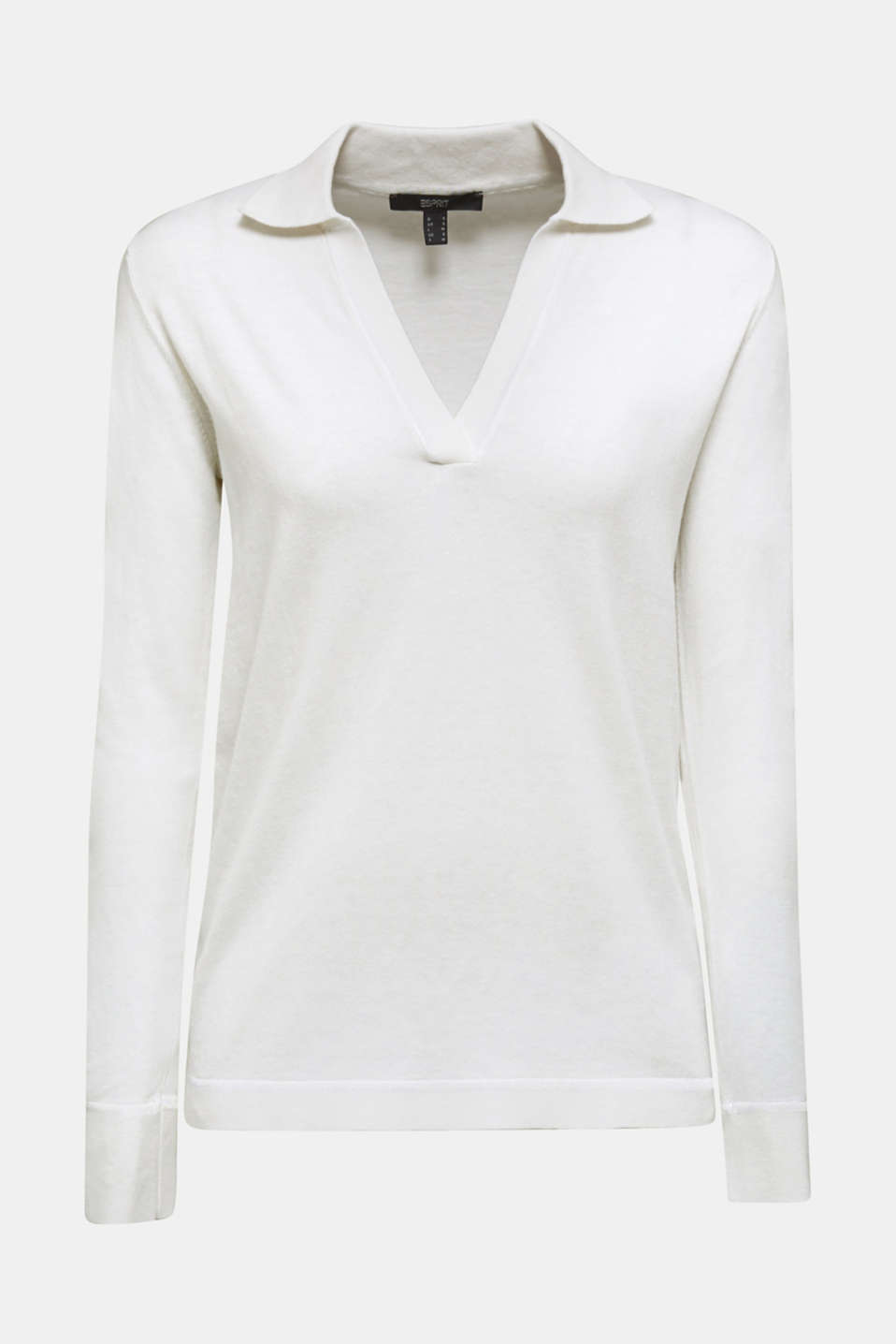 With silk: Jumper with a polo collar, OFF WHITE, detail image number 6