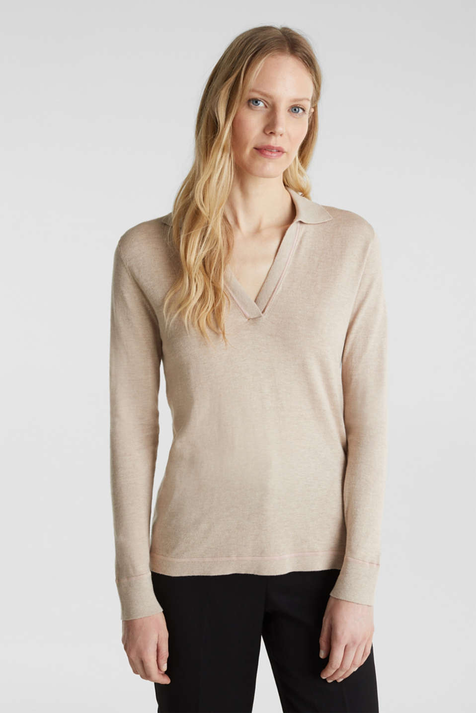 With silk: Jumper with a polo collar, SAND 5, detail image number 0