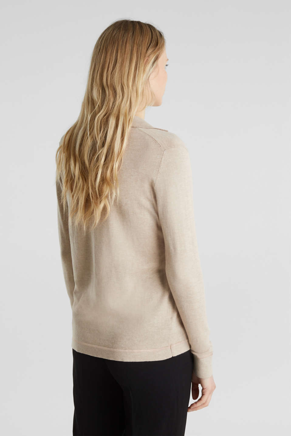 With silk: Jumper with a polo collar, SAND 5, detail image number 3