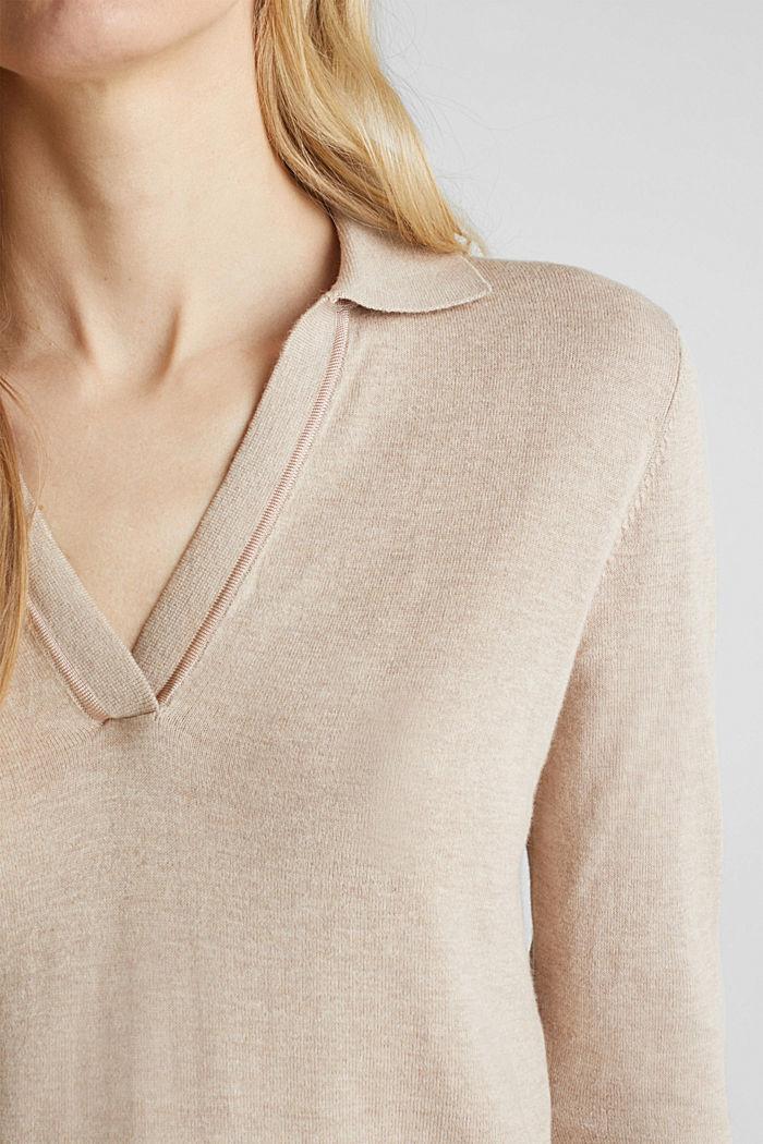 Mit Seide: Pullover mit Polo-Kragen, SAND, detail image number 2