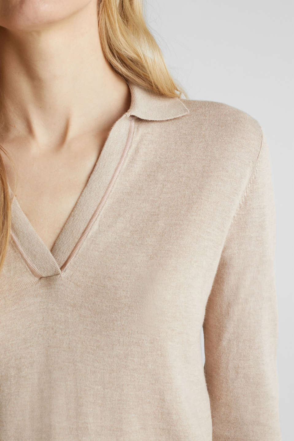 With silk: Jumper with a polo collar, SAND 5, detail image number 2