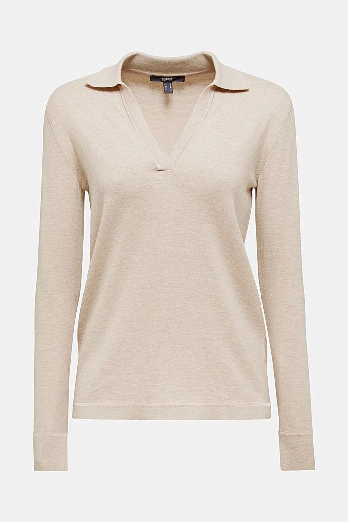 Mit Seide: Pullover mit Polo-Kragen, SAND, detail image number 6