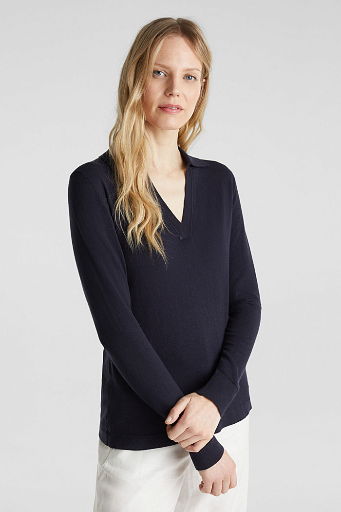 With silk: Jumper with a polo collar, NAVY, detail image number 0