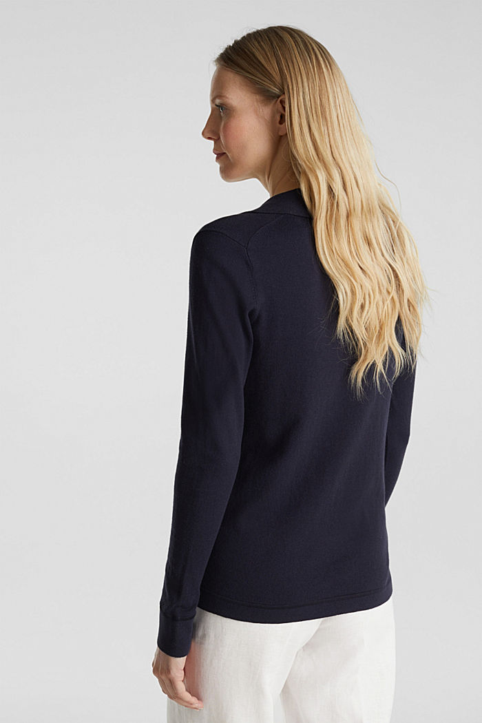 With silk: Jumper with a polo collar, NAVY, detail image number 3