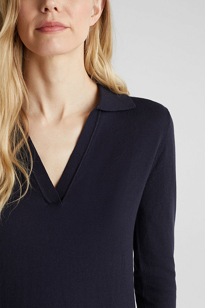 With silk: Jumper with a polo collar, NAVY, detail image number 2