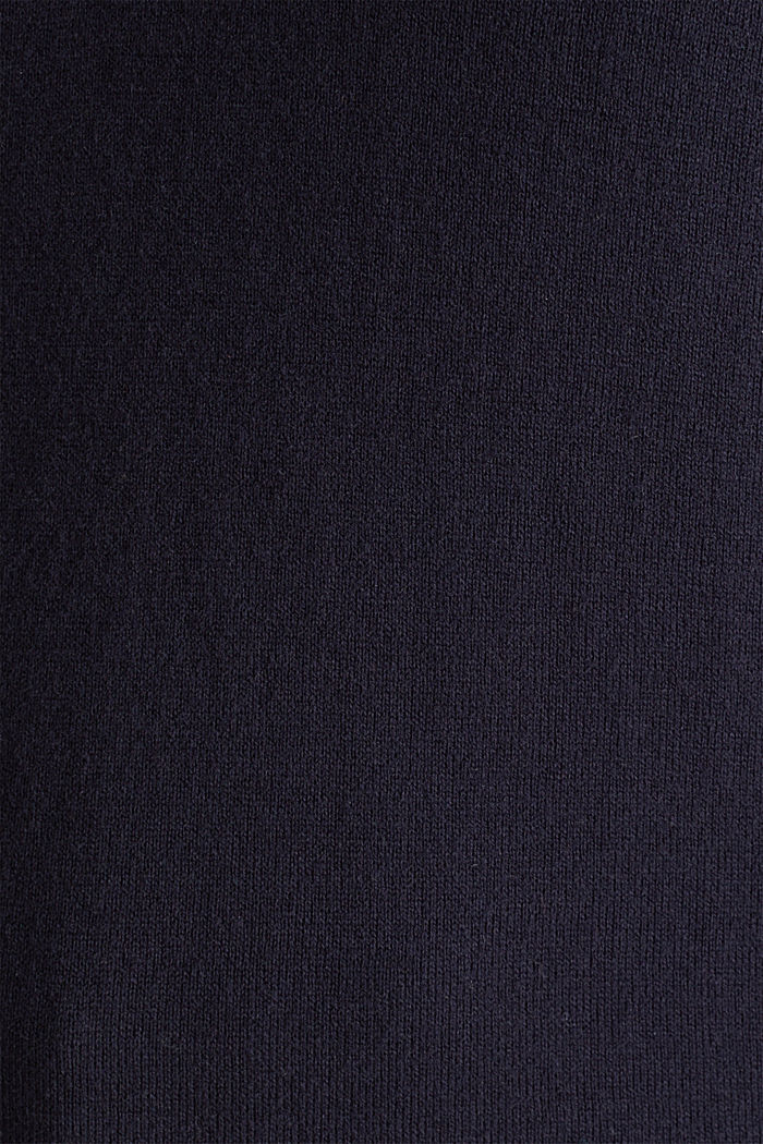 With silk: Jumper with a polo collar, NAVY, detail image number 4