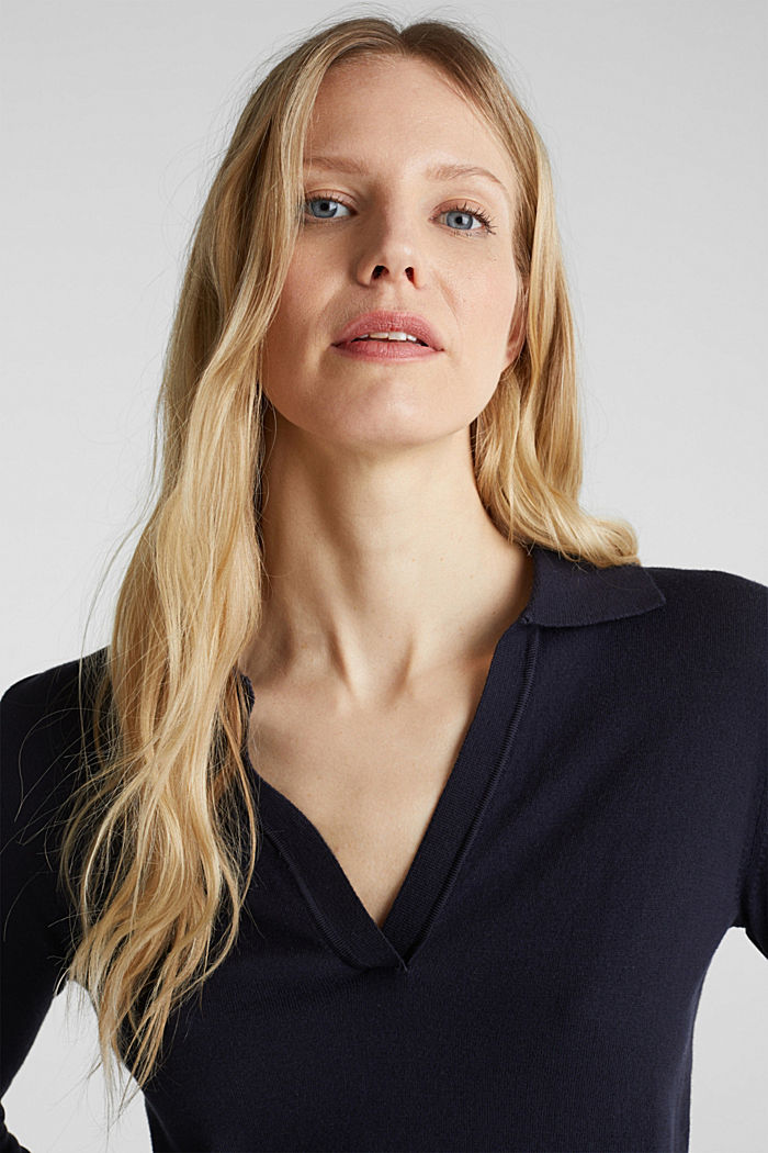 With silk: Jumper with a polo collar, NAVY, detail image number 5