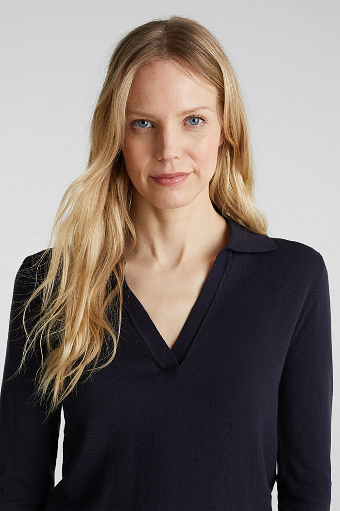 With silk: Jumper with a polo collar, NAVY, detail image number 6
