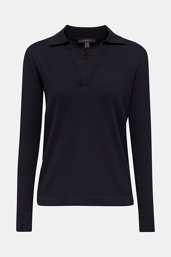 With silk: Jumper with a polo collar, NAVY, detail image number 7
