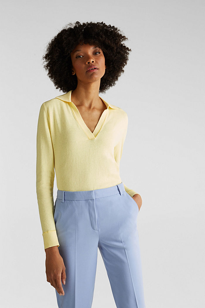 With silk: Jumper with a polo collar, LIME YELLOW, detail image number 0