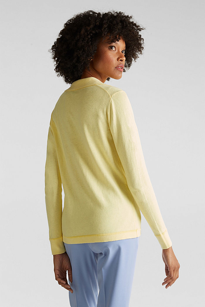 With silk: Jumper with a polo collar, LIME YELLOW, detail image number 3