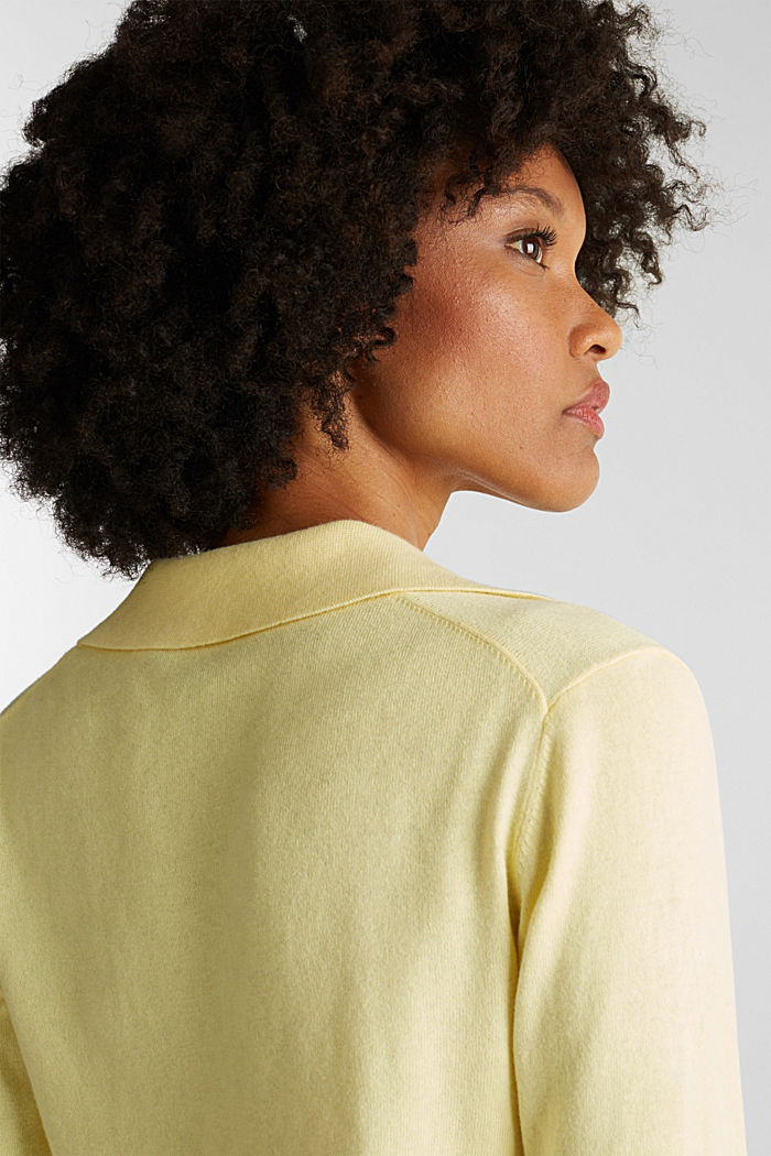With silk: Jumper with a polo collar, LIME YELLOW, detail image number 2