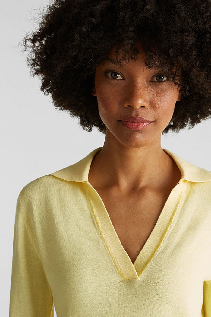 With silk: Jumper with a polo collar, LIME YELLOW, detail image number 6