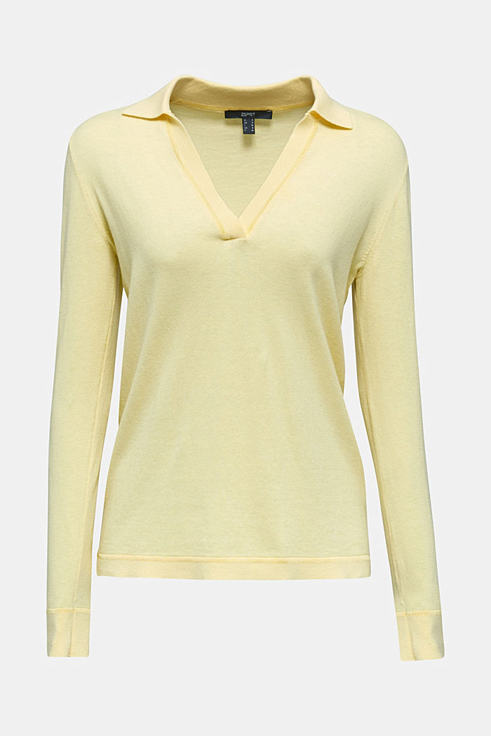 Mit Seide: Pullover mit Polo-Kragen, LIME YELLOW, overview