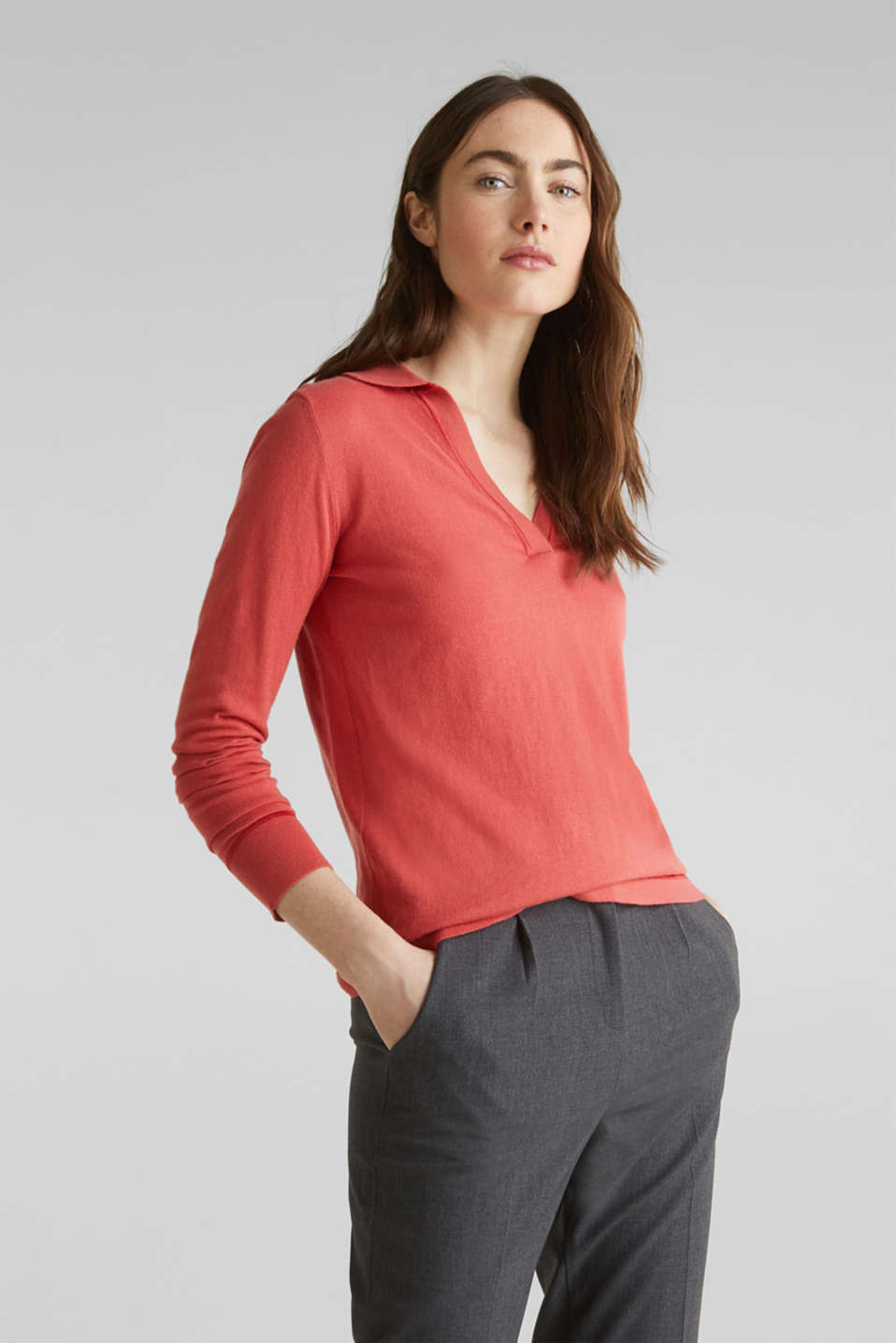 Esprit - With silk: Jumper with a polo collar