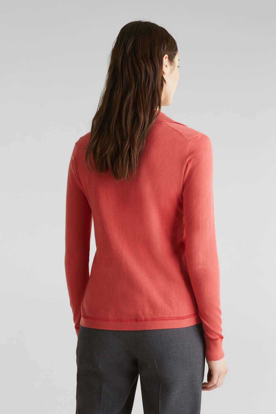 With silk: Jumper with a polo collar, TERRACOTTA, detail image number 2