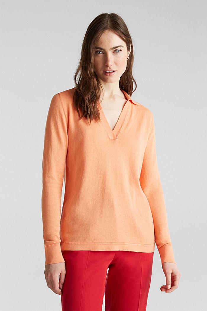 Mit Seide: Pullover mit Polo-Kragen, ORANGE, detail image number 0