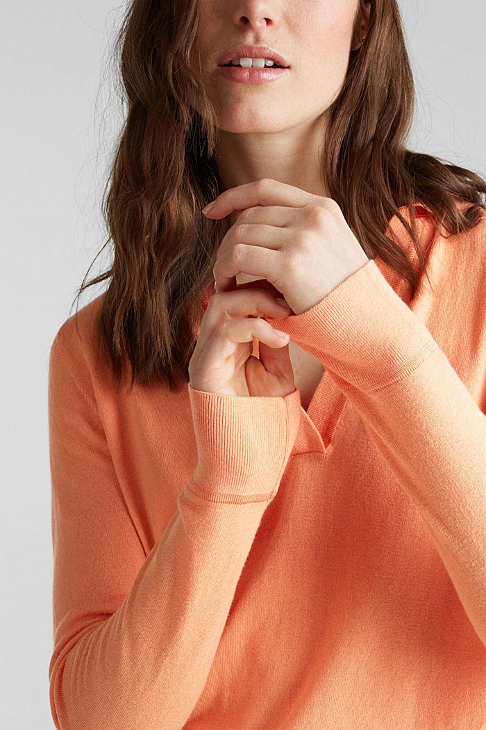 Mit Seide: Pullover mit Polo-Kragen, ORANGE, detail image number 2