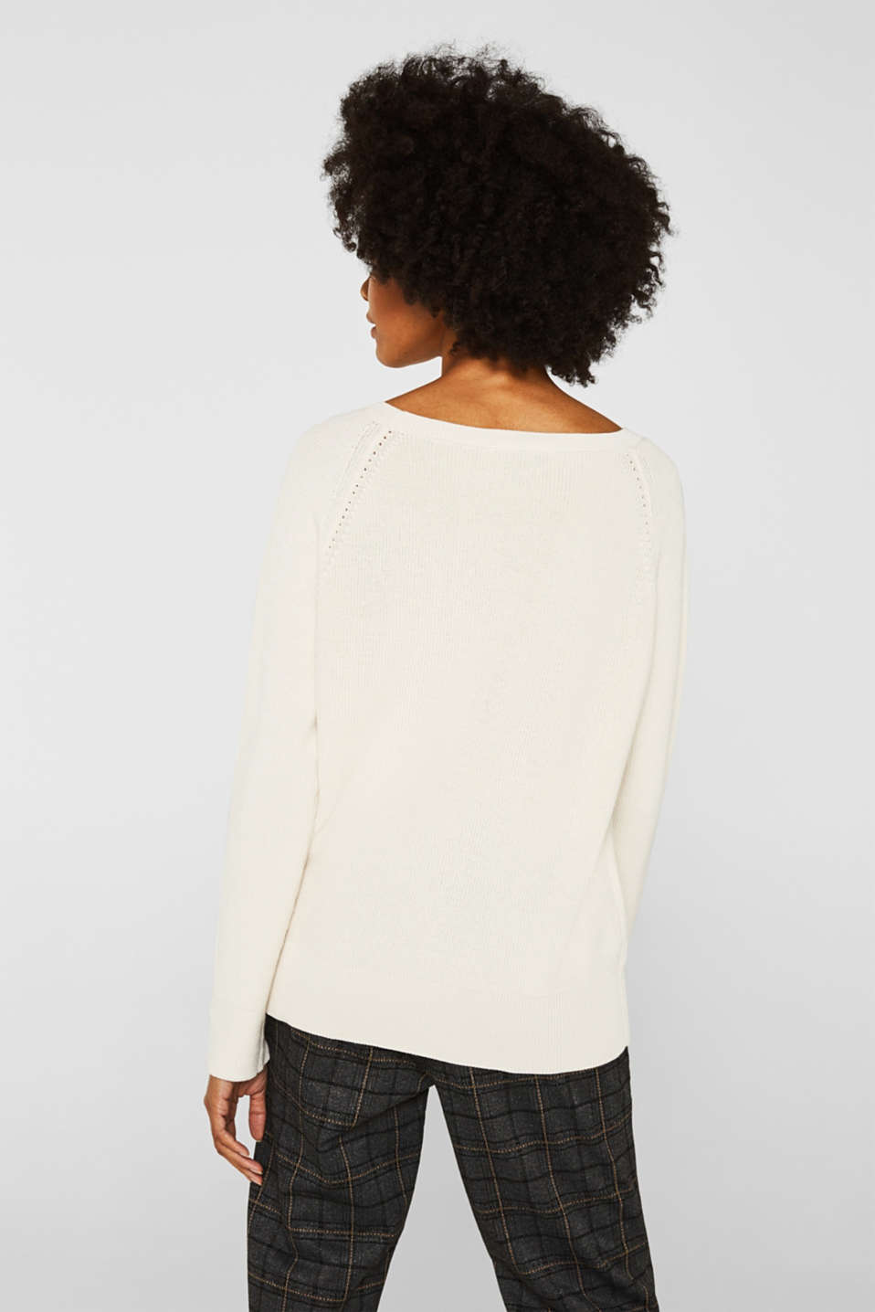 Jumper with a textured pattern, OFF WHITE, detail image number 3
