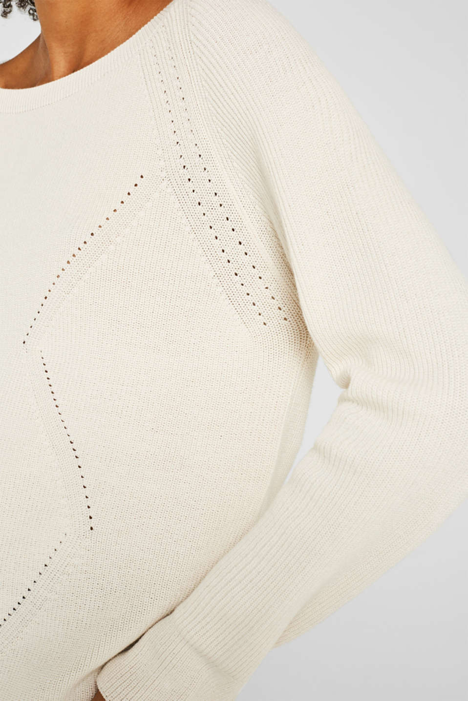 Jumper with a textured pattern, OFF WHITE, detail image number 2