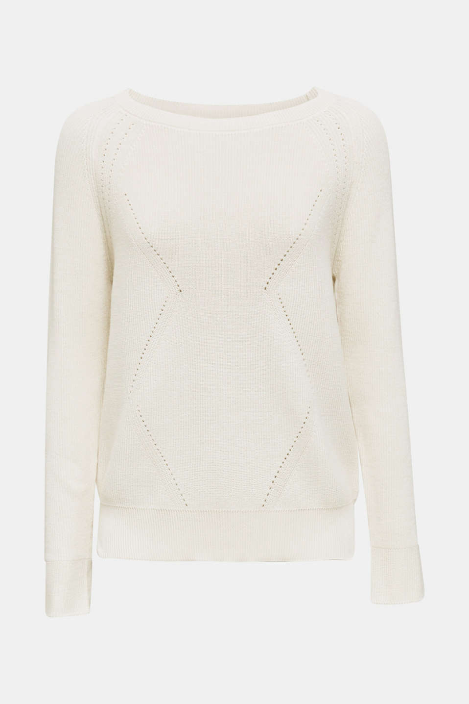 Jumper with a textured pattern, OFF WHITE, detail image number 6