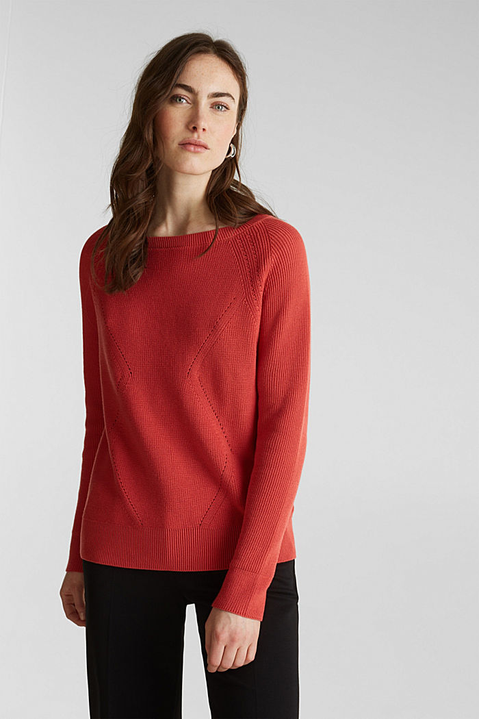 Jumper with a textured pattern, TERRACOTTA, detail image number 0