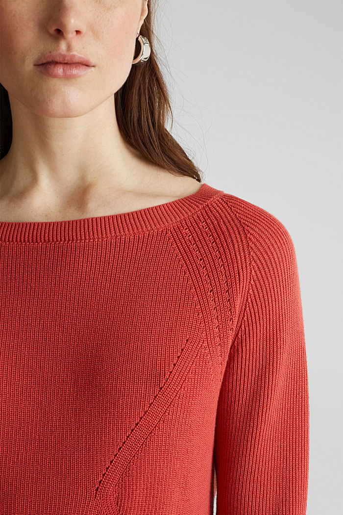 Jumper with a textured pattern, TERRACOTTA, detail image number 2
