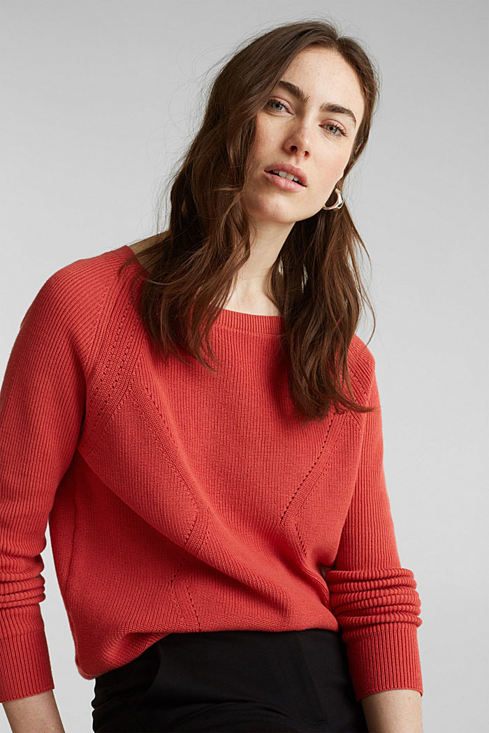 Jumper with a textured pattern, TERRACOTTA, detail image number 5