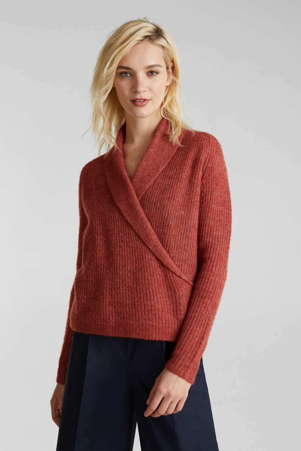 Esprit - With wool/alpaca: wrap-over jumper